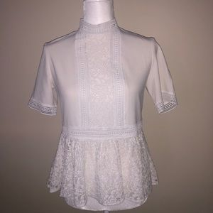 Zara White Lace Ruffle Shirt